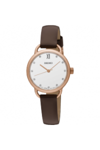 Seiko Ladies Conceptual rose gold with with leather strap SUR698P-2