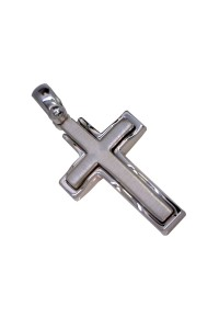 9ct Brushed and Polished White Gold Italian Made Cross