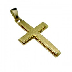 9ct Yellow Gold Textured Patterned Cross