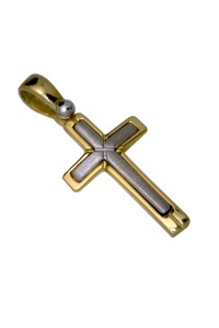 18ct Yellow and Brushed White Gold Italian Made Cross