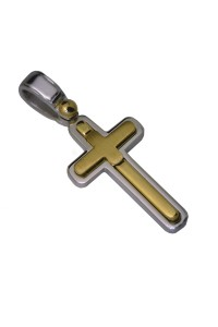 18ct Yellow and White Gold Italian Made Cross
