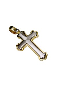 9ct White & Yellow Gold Ornate Gents Cross