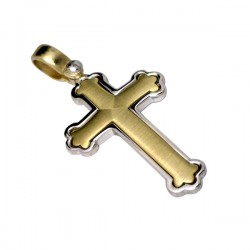 9ct Brushed Yellow and White Gold Ornate Gents Cross