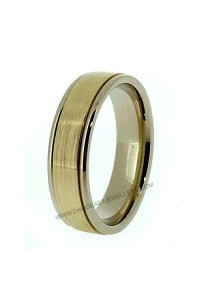 9K White and Yellow Gold Flat Gents Wedding Ring 094083