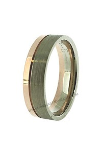 9K Rose Gold and White Gold Gents Wedding Ring 094087