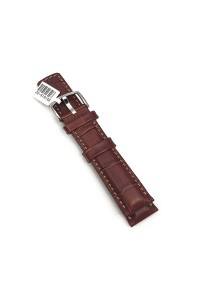 18mm Brown Grand Duke Alligator Embosed Leather Watch Band with Tan Stiching