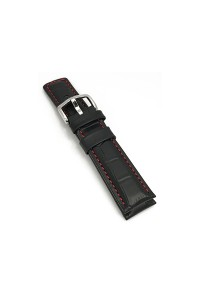 18mm Black Grand Duke Alligator Embosed Leather Watch Band with Red Stitching