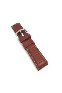 18mm Golden Brown Grand Duke Alligator Embosed Leather Watch Band with Tan Stiching