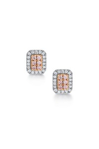 Blush Pink Argyle Diamond Earring Emerald Shape Studs