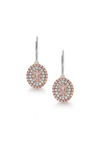 Blush Pink Argyle Diamond Oval Shape Drop Earrings