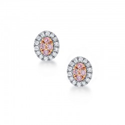 Blush Pink Argyle Diamond Oval Stud Earrings