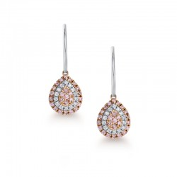 Blush Pink Argyle Diamond Pearshape Drop Earrings