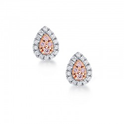 Blush Pink Argyle Pear Shape Diamond Earrings