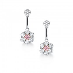 Blush Pink Argyle Diamond Cluster Drop Earrings