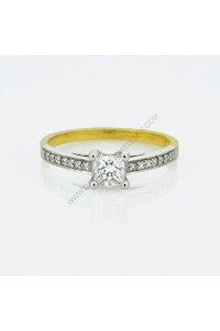 Two Toned Pave Diamond Engagement Ring