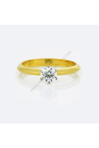 18k Yellow Gold Brilliant Cut 6 Claw Diamond Engagment Ring