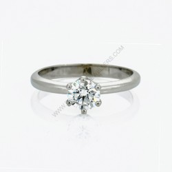 18k White Gold 0.81ct D SI2 Round Solitaire Diamond Engagement Ring