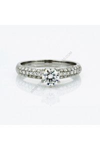 18k White Gold 0.51ct E Colour Round Diamond and Pave Engagment Ring