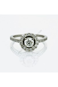 Round Halo 1.035ct Diamond Engagment Ring