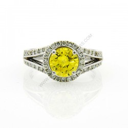 1.30ct Treated Yellow Natural Diamond Ring