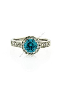 18k White Gold 1ct Blue Diamond Ring