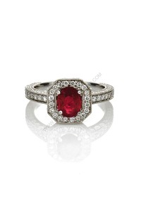 Halo Ruby Diamond Ring