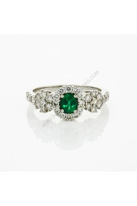 Natural Emerald Diamond Cluster Ring