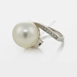 13mm Silverose South Sea Pearl Pearl Diamond Ring