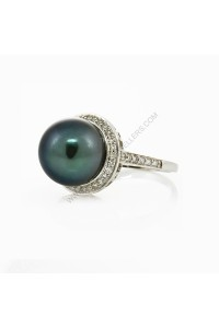 11.5mm Tahitian Pearl Diamond Princess Ring