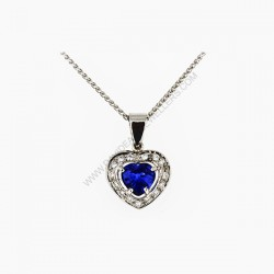 1.78 ct Blue Sapphire Heart Shape Diamond Pendant