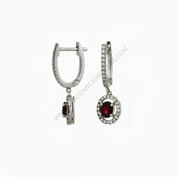 Ruby Diamond Huggie Drop Earrings
