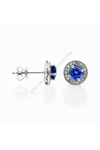 Sapphire Micro Pave Diamond Stud Earrings