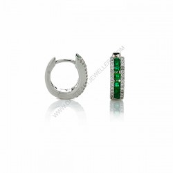 Natural Emerald Diamond Small Huggie Earrings