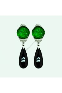 Natural Green and Black Jadeite Diamond Earrings