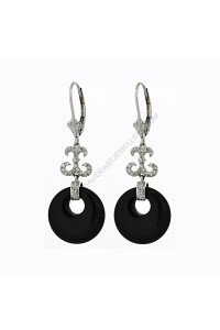 Fancy Onyx Diamond Drop Earrings