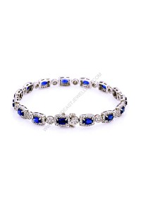 4.77ct Blue Sapphire and Diamond Bracelet