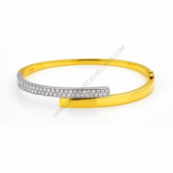 Solid 18k Hinged Oval 1.00ct Diamond Bangle
