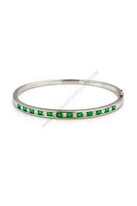 Emerald and Diamond Oval Hinged Bangle