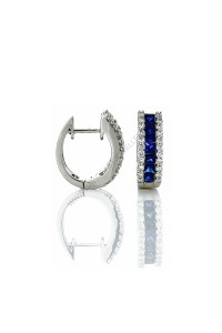 Blue Sapphire Diamond Huggie Earrings