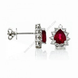 Pear Shaped Ruby Diamond Stud Earrings