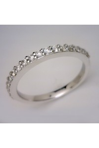 18kt White Gold Bead Set Diamond Wedding Ring