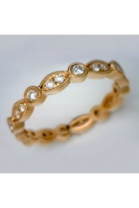 18kt Rose Gold Vintage Millgrain Diamond Band
